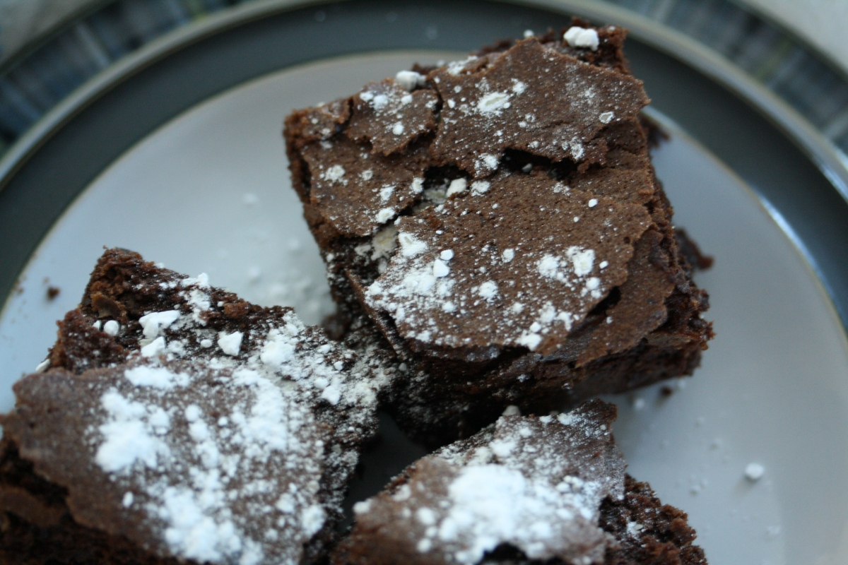 Chocolate Chip  Brownies on a bright winter day in Doha.