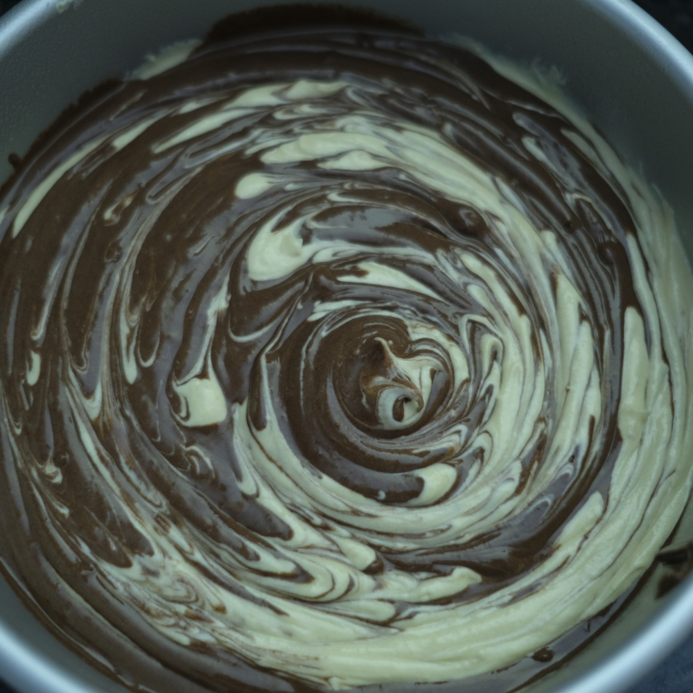 Chocolate and Vanilla Marble cake Batter